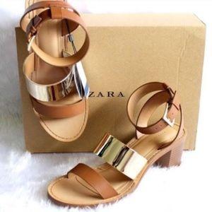Zara Brown Gold Metal Strappy Open Toe Sandals